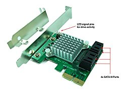 Ableconn PEX-SAT4R 4-Port SATA 6G PCI Express 2.0 Host Adapter – PCIe AHCI SATA III 6Gbps RAID Controller Card Support HyperDuo SSD Tiering (Marvell 88SE9230 Chipset)