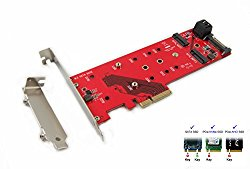 Ableconn PEXM2-125 M.2 NGFF to PCI Express 3.0 x4 Host Adapter Card – Support 1x M.2 PCIe (NVMe or AHCI) SSD + 2x M.2 SATA SSDs