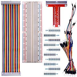 for Raspberry Pi 3 Kit, Kuman 830 MB-102 Tie Points Solderless Breadboard + GPIO T Type Expansion Board + 65pcs Jumper Cables wires+ 40pin Rainbow Ribbon Cable+100pcs resistance K73