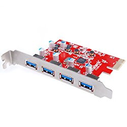 Inateck 4 Ports PCI-E to USB 3.0 Express Card for Mac Pro (Early 2008 to 2012 Late Version) – USB 3.0 4-Port Expansion Card Desktop, No Additional Power Connection Needed