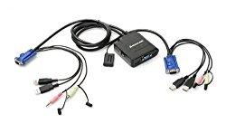 IOGEAR 2-Port VGA USB Cable KVM with Audio and Mic, GCS72U