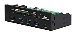 Kingwin KW525-3U3CR Multi-Function Super Speed USB 3.0 Hub w/ Card Reader Includes 1 USB 3.1 Port + 1 ESATA Port.  Transfer Speed up to 5 Gbps Bandwidth, Fits any 5.25″ Computer Case Front Bay