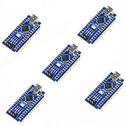 KOOKYE 5PCS Nano V3.0 ATMEGA328P Module CH340G 5V 16M Mini USB Micro-controller Board for Arduino(Nano *5)