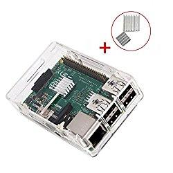 KuGi Raspberry Pi 3 Model B case PC Protective Case with 2x Heatsinks for Raspberry Pi 3 Model B, Pi 2 Model B & Pi Model B+ (Clear)