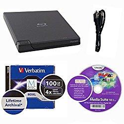 Pioneer 6x BDR-XD05B External Portable Blu-ray Burner in Retail Box Bundle with 100GB Verbatim M-Disc BDXL and Cyberlink Burning Software