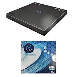 Pioneer 6x BDR-XD05B Portable USB 3.0 Blu-ray Burner Bundle with 1 Pack M-DISC BD – Supports BDXL, BD, DVD, and CD Media (Black, Retail Box)
