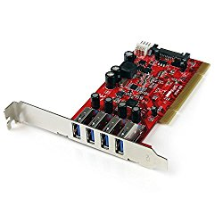 StarTech.com 4 Port PCI SuperSpeed USB 3.0 Adapter Card with SATA/SP4 Power-Quad Port PCI USB 3 Controller Card PCIUSB3S4 Red