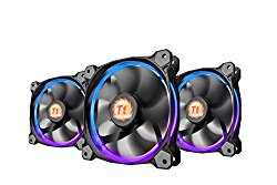 Thermaltake Riing 12 RGB LED 120mm Adjustable Color Case Radiator Fan – Triple Pack CL-F042-PL12SW-B