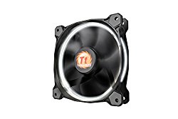 Thermaltake Riing 12 Series High Static Pressure 120mm Circular LED Ring Case/Radiator Fan with Anti-Vibration Mounting System Cooling CL-F038-PL12WT-A White