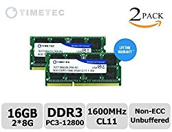 Timetec® (76TT16NUSL2R8-8G) 16GB KIT (2x8GB) Dual Rank 1600MHz DDR3 (PC3-12800) Non-ECC Unbuffered CL11 204-Pin SODIMM 2Rx8 512×8 1.35V Laptop PC Computer Memory Ram Module Upgrade 16GB KIT (2x8GB)