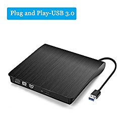 Portable External CD DVD Drive USB 3.0 Slim CD DVD +/-RW Drive Rewriter Burner,High Speed Data Transfer for Macbook Air Pro/iMac/MacOS/Laptop/Desktops Windows/Vista/7/8/10