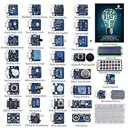 SunFounder Ultimate Sensor Kit for Arduino UNO R3 Mega2560 Mega328 Nano – Including 98 Page Instructions Book