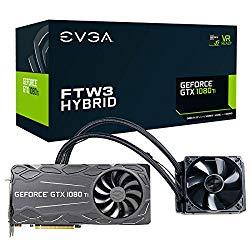 EVGA GeForce GTX 1080 Ti FTW3 Hybrid Gaming, 11GB GDDR5X, Hybrid & RGB LED, iCX Technology – 9 Thermal Sensors Graphics Card 11G-P4-6698-KR