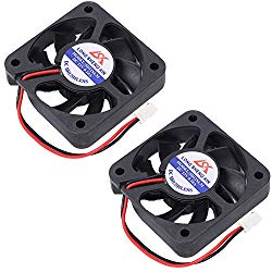 Icstation 50mm X 50mm X 10mm 5010 2 Pin DC 12V 0.1A Silent Brushless Cooling Fan for 3D Printer Computer Sleeve Bearing 7 Blades (Pack of 2)