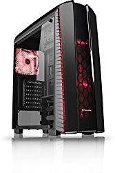 Thermaltake Versa N27 Shadow Blade ATX Gaming Mid Tower Computer Case with 3 Red LED Riing Fan Pre-installed CA-1H6-00M1WN-02