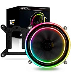 darkFlash Shadow PWM Aluminum CPU LED Addressable RGB Motherboard Control Cooler Cooling Fan Motherboard Sync for Intel Core i7/i5/i3