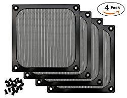120mm Computer Fan Filter Grills Screws, Ultra Fine Aluminum Mesh, Black Color – 4 Pack