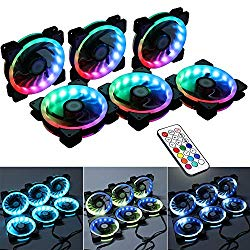 LEDdess Wireless RF Control RGB LED 120mm Case Fan for PC Cases, CPU Coolers, Radiators System (6pcs RGB Fans, 2nd Gen RF Remote Controller, A Series)