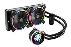 Enermax LIQFusion RGB 240mm Lighting Liquid CPU Cooler Dual 120mm T.B. RGB addressable M/B sync RGB fan, Exclusive RGB-sync waterblock with patented flow indicator design, ELC-LF240-RGB