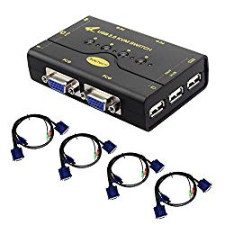 4 Port VGA KVM Switch with USB Hub Support Wireless Keyboard Mouse Connection and Push Button Switching Function