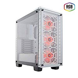 CORSAIR Crystal 460X RGB Compact Mid-Tower Case, 3 RGB Fans, Tempered Glass – White