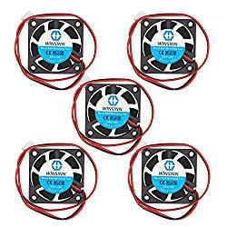WINSINN 40mm Fan 24V Dual Ball Bearing DC Brushless Quiet Cooling 4010 40x10mm for 3D Printer Extruder Hotend Makerbot MK7 MK8 CPU Chip Arduino – 2Pin 0.1A 1.2W 6000+-5% RPM (Pack of 5Pcs)