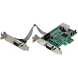 StarTech 2 Port Low Profile Native RS232 PCI Express Serial Card with 16550 UART – PCIe RS232 – PCI-E Serial Card