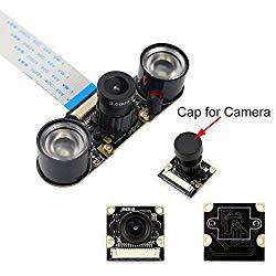 kuman SC15-US-NFBA Raspberry Pi Camera Module 5MP 1080P Ov5647 Sensor HD Video Webcam Supports Night Vision SC15, Black