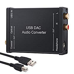 LiNKFOR USB DAC Audio Converter Decoder USB Audio Adapter USB External Stereo Audio Sound Card USB to Optical Coaxial or Stereo RCA L/R 3.5mm Jack Converter for Windows XP 7 10 and Mac PS4 PS3