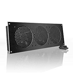AC Infinity AIRPLATE S9, Quiet Cooling Fan System 18″ with Speed Control, for Home Theater AV Cabinet Cooling