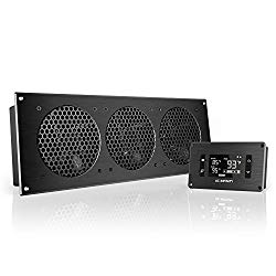 AC Infinity AIRPLATE T9, Quiet Cooling Fan System 18″ with Thermostat Control, for Home Theater AV Cabinets
