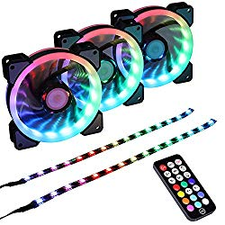 LEDdess Addressable RGB LED 120mm Case Fan with Controller for PC Cases, CPU Coolers, Radiators System (3pcs RGB Fans, 2pcs led Strips, 2nd Gen RF Remote Control, A Series)