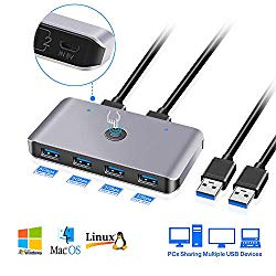 USB3.0 Switch Selector, 2 Computers 6-Port USB 3.0 Peripheral Sharing Switch Hub Adapter for Keyboard, Mouse, U-disk, Printer, KVM One-Second Switcher USB3.0, Compatible with Mac / Windows / Linux