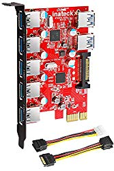 Inateck Superspeed 7 Ports PCI-E to USB 3.0 Expansion Card – 5 USB 3.0 Ports and 2 Rear USB 3.0 Ports Express Card Desktop with 15 Pin SATA Power Connector, Including Two Power Cables (KT5002)