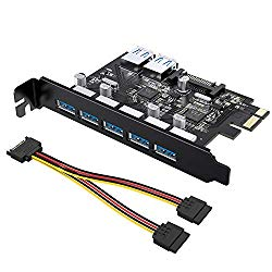 Tiergrade Superspeed 7 Ports PCI-E to USB 3.0 Expasion Card with 15-Pin SATA Power Connector – PCI Express(PCIe) Expansion Card USB Card for Desktop PC Support Windows 10/8.1/8/7/XP