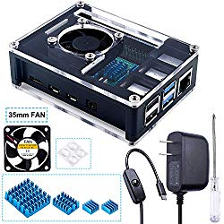 Miuzei Case for Raspberry Pi 4 with Cooling Fan, 4 Pcs Heatsinks, 3A USB-C Power Supply for Raspberry Pi 4 Model B(Four-Layer Case)