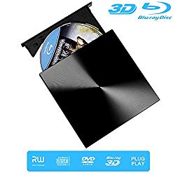 External Blu Ray Drive, 3D Drive Reader Burner, USB 3.0 and Type-C Writer Slim Optical Slim Optical Portable Bluray CD DVD Drive for Laptop/MacBook Air/Pro/PC/Windows