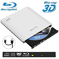 External Blu Ray Drive 3D NOLYTH External Blu Ray DVD Drive USB 3.0/C Bluray Drive Burner Player for Laptop/MacBook Air/Pro/Windows with Protactive Storage Carrying Case