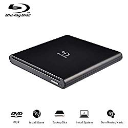External Blu Ray Drive Portable Blu Ray Burner USB 2.0 Write Read BD CD DVD RAM ROMSlot in for Notebook Laptop iMac Pro Air (Black)