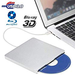 External Blu ray Drive,VikTck USB 3.0 Hard DVD/CD Burner/Writer,3D 4K 6X Blu-Ray Disc Playback, Slim & Super-Fast for Windows, Mac OS Laptop, PC, Computer (Silver)
