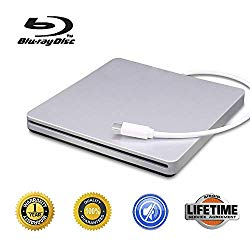 External Blu-Ray DVD CD Drive Type-C 3D Blu-ray DVD Player Portable USB 3.0 DVD/CD-ROM Burner Writer Rewriter BD-ROM for Laptop Desktop Notebook PCDVD (Silver)