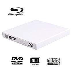 External Blu-ray DVD CD Drive USB 2.0 3D Blu-Ray Player Portable CD/DVD-ROM Burner BD-ROM for PC Compute Desktop Notebookr (White)
