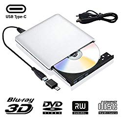 External Blu Ray DVD Drive 3D, USB 3.0 and Type USB C Bluray DVD CD RW Row Burner Player Rewriter Compatible for MacBook OS Windows 7 8 10 PC iMac
