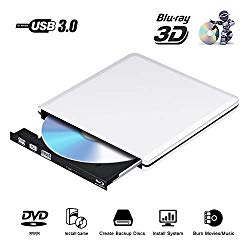 External Blu Ray DVD Drive 3D, USB 3.0 Optical Bluray DVD CD RW Row Burner Player Rewriter Compatible for MacBook OS Windows 7 8 10 PC iMac (Black0)