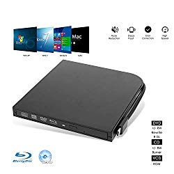 External Blu Ray DVD Drive Burner Player USB3.0 Type-C Dual interfaces Portable Slim Automatic slot-loading CD/DVD-RAM/BD-ROM Superdrive +/- RW Reader with High Speed Data for Laptop PC Windows Mac OS