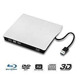 External Blu Ray DVD Drive Portable USB 3.0 CD 3D Blu-Ray Player Burner BD-ROM Reader for Mac, Windows 10, Laptop, PC (C, White)