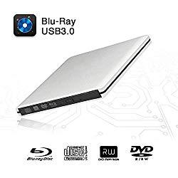 External Blu-Ray DVD Drive USB 3.0 Portable Ultra-Thin 3D CD BD Blu-ray Player/Writer/Burner BD-ROM Used for Various Brand Computer PC Desktop, Laptop (Silver)