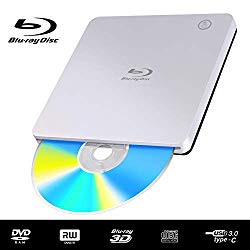 External USB Blu Ray DVD Drive Player, USB 3.0 and Type-C Blu-Ray 3D BD Drive Slot-in Ultra-Slim Optical CD DVD Burner Compatible with Windows XP/7/8/10, MacOS, Linux for MacBook, Laptop, Desktop