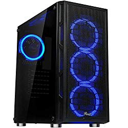 Rosewill ATX Mid Tower Gaming PC Computer Case with Dual Ring Blue LED Fans, 360mm Water Cooling Radiator Support, Tempered Glass and Steel, USB 3.0 – Spectra C100