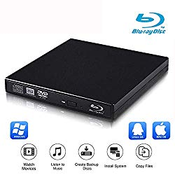 VikTck External Blu Ray Drive DVD Player Drive,USB 2.0 Disc Burner Reader Slim BD CD DVD RW ROM Writer for PC Mac Windows 7 8 10 XP Linxus (Black)